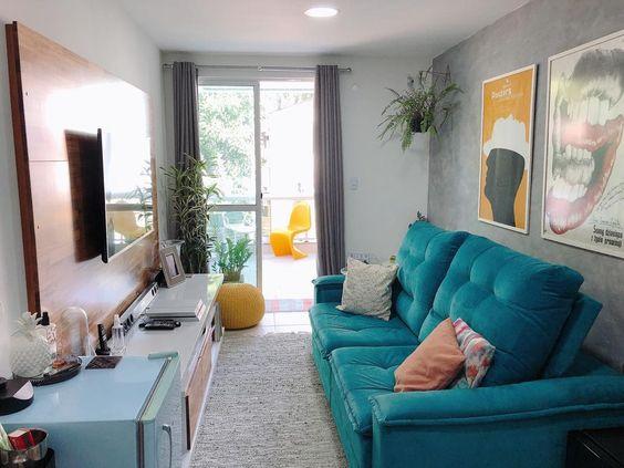 sofa dois  lugares azul