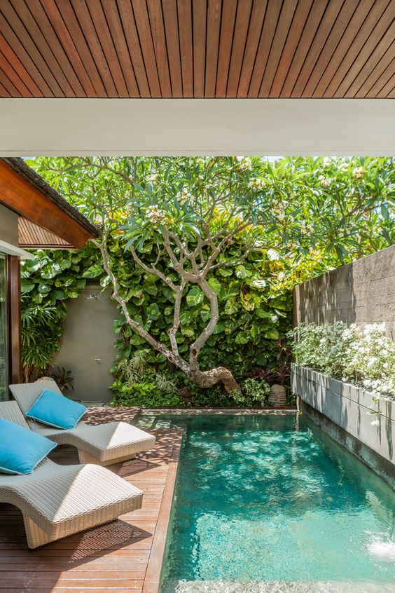 piscina com deck de madeira pra pequenos espaços