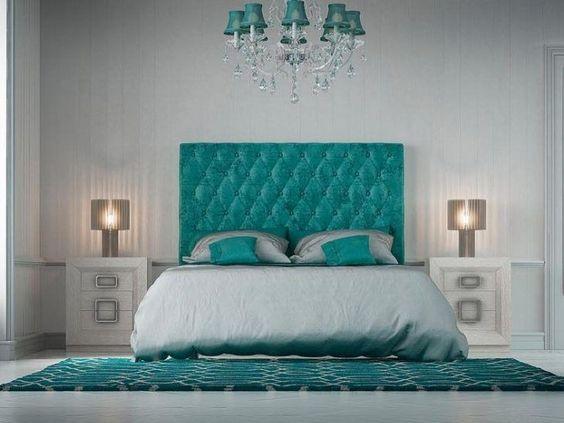 combinação azul tiffany para quarto de casal