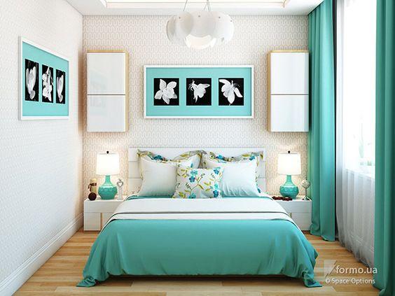 cortinas e jogo de cama azul turquesa