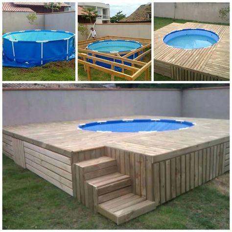montagem de deck de piscina