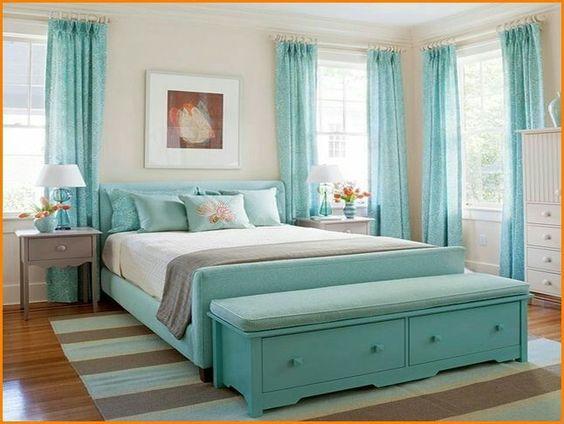 quarto de casal em azul Tiffany