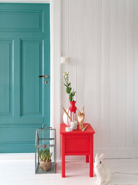 porta de entrada azul turquesa