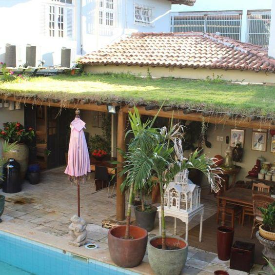 teto verde área externa fundos com piscina