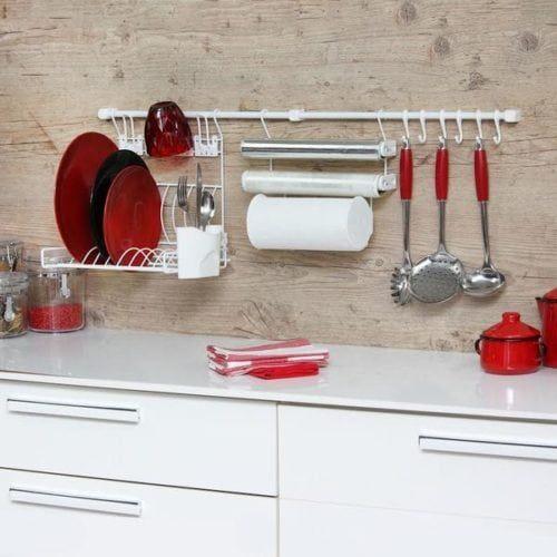 Jogo de cozinha organizador vermelho e branco