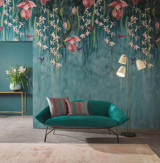 sala florida azul turquesa