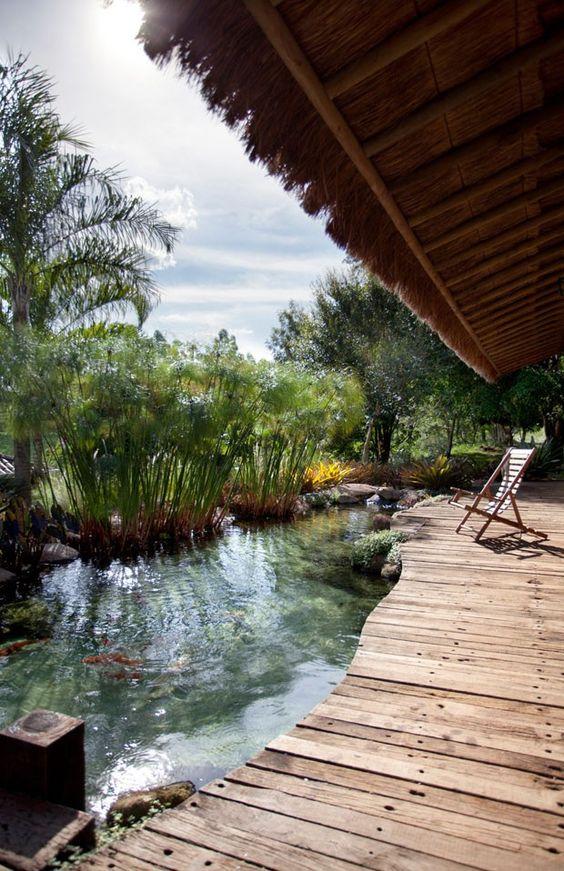deck de madeira em piscinas naturais