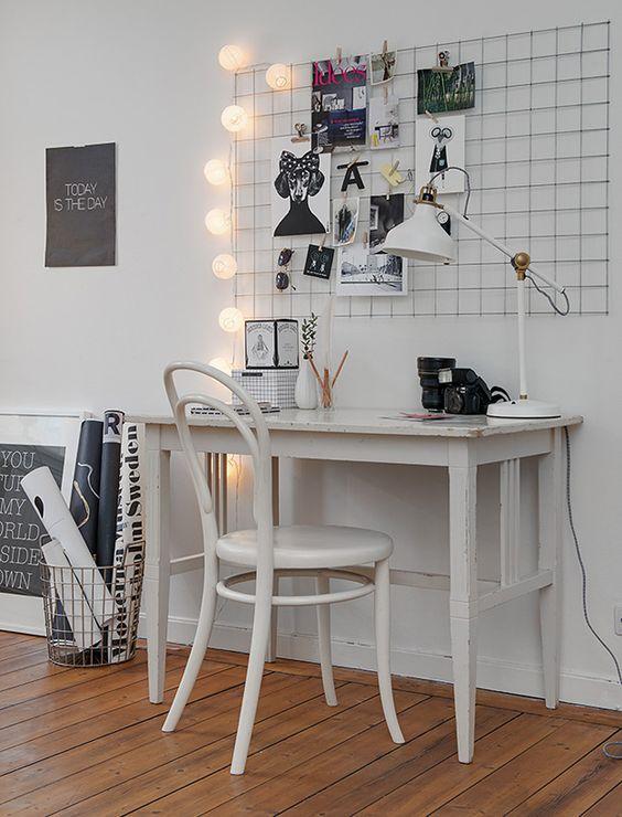 como organizar a casa em home office com tela mural