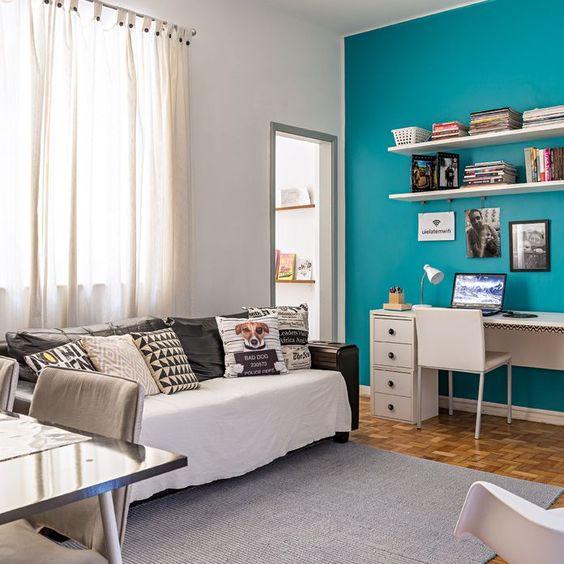 azul turquesa em salas pequenas