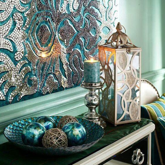detalhes na decoração em azul