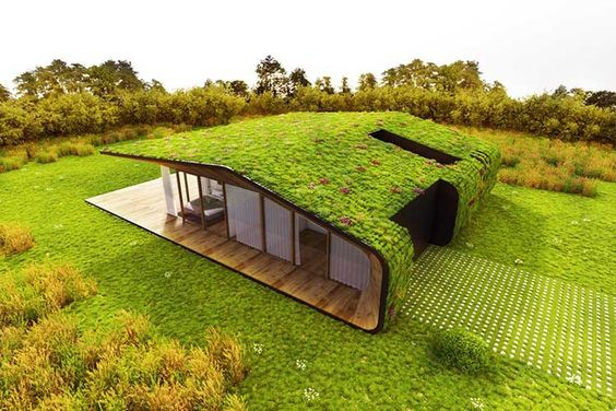 telhado verde em espaço gramado arquitetura do futuro