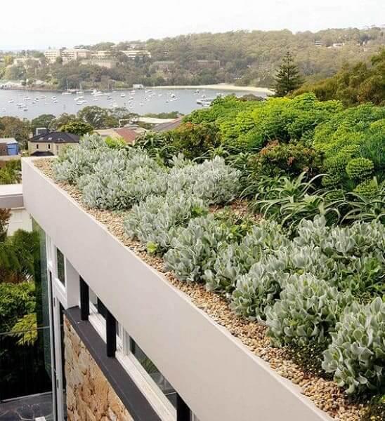 telhados verde com plantas em casa de praia