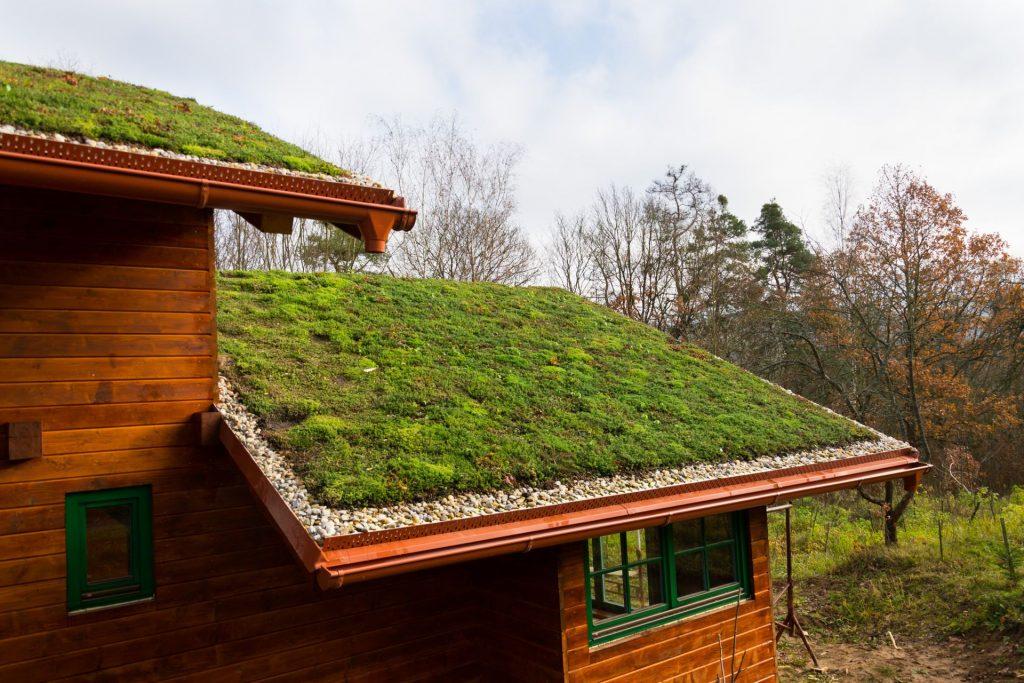 casa de madeira com ecotelhado duplo