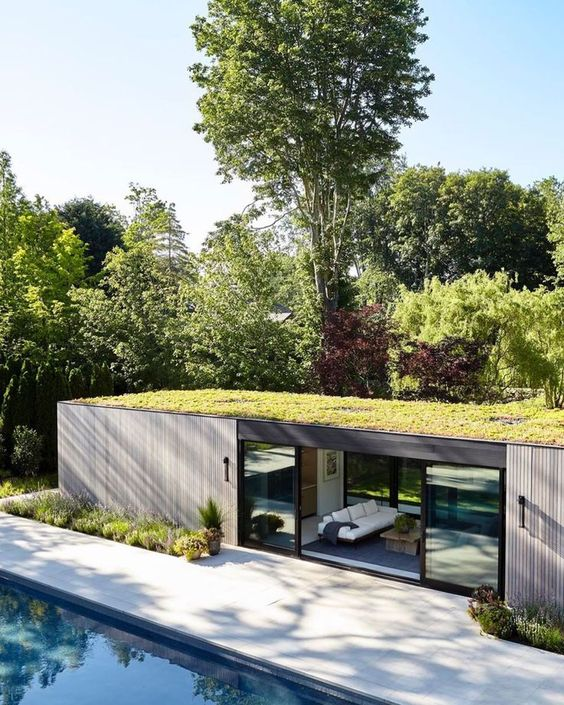 casa retangular desenho moderno teto verde