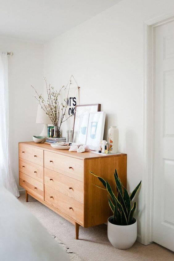cômoda com gavetas e quadro com vaso de planta no châo