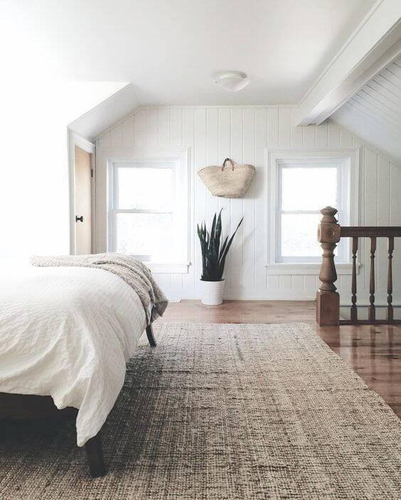 quarto de casal com tapete planta fundo