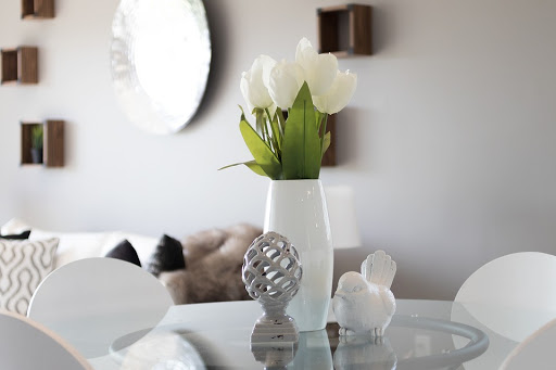 sala harmonizada com planta natural em mesa redonda de vidro