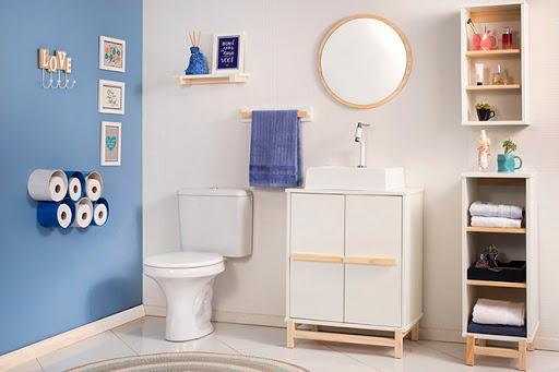 como organizar a casa com banheiro e prateleiras