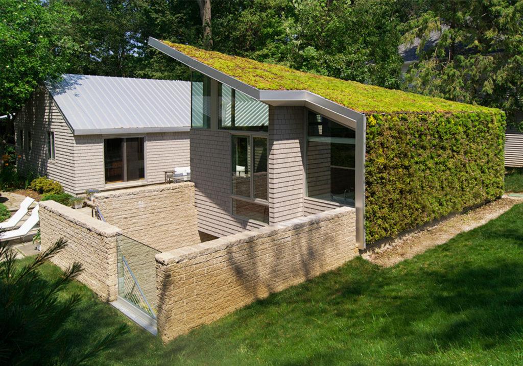 telhado verde integrado a parede