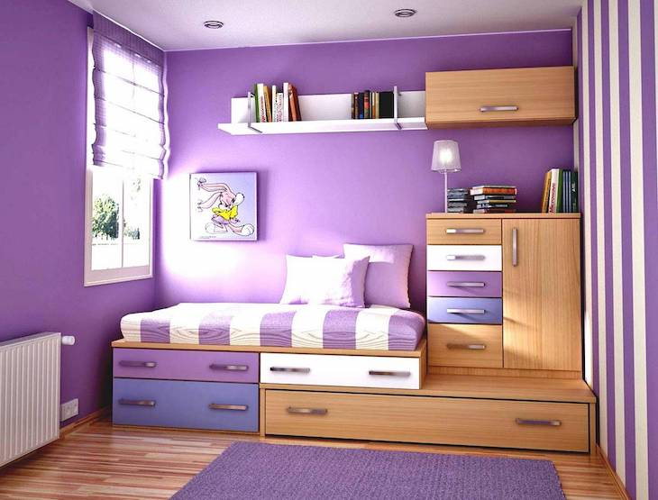 quarto de solteiro cores lilás e branco
