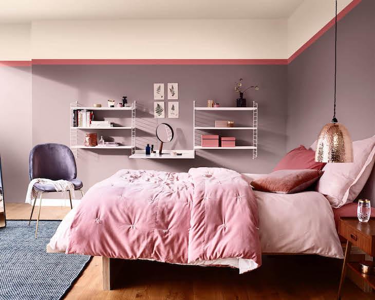 feng shui quarto do casal em tons de rosa e lilás