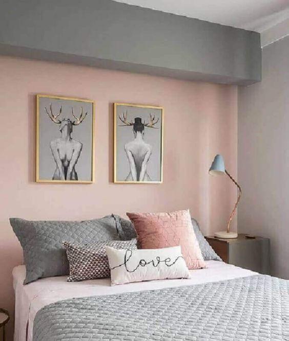 decoração quarto feng shui tons pastéis de rosa, cinza e branco