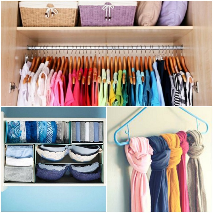 sugestão de guarda-roupa organizado com cabides e caixas