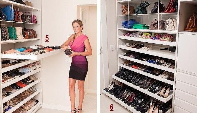 sapatos em gavetas