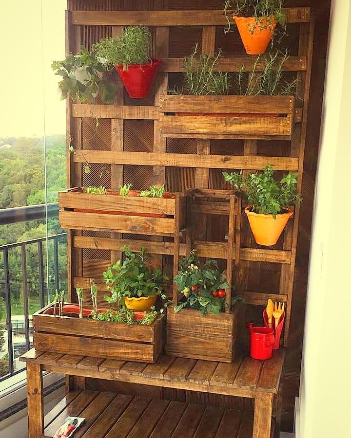 horta vertical caixote e vasos