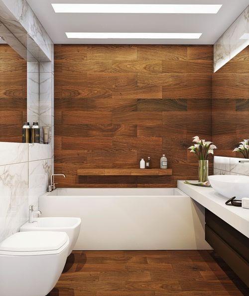 banheiro com madeira escura