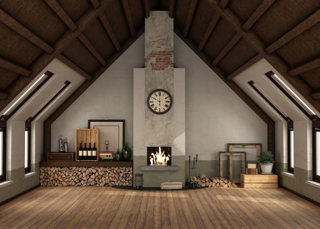 chalé com piso em madeira