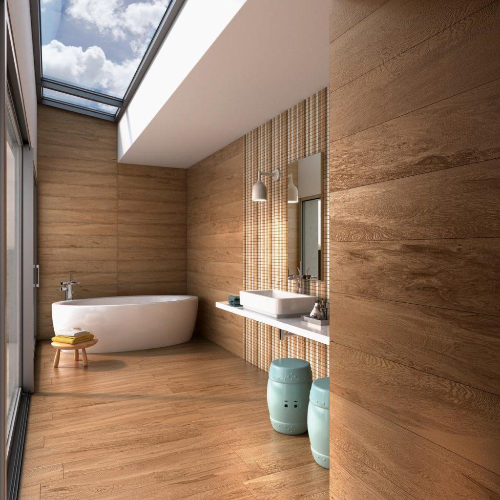 pisos que imitam madeira para revestir banheiro