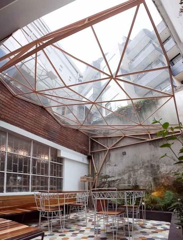 área externa teto de vidro