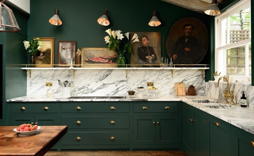 cozinha marmore e verde