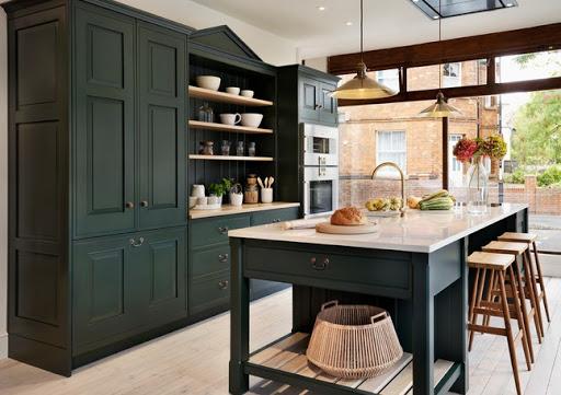 cozinha verde escuro