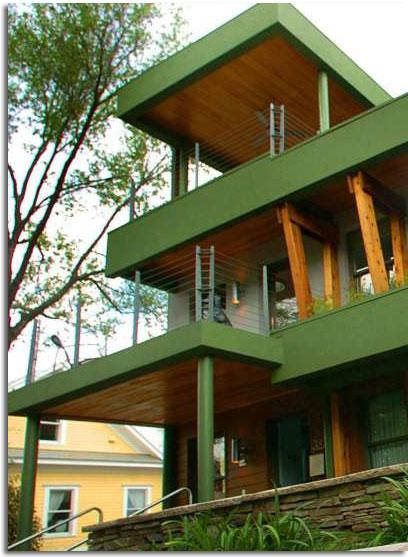 fachada moderna verde