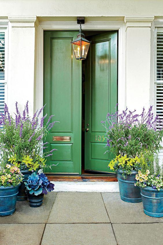 porta fachada verde