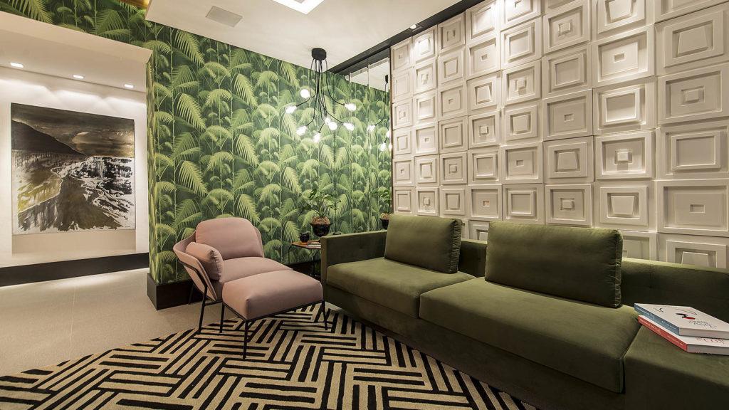 sofa linear verde
