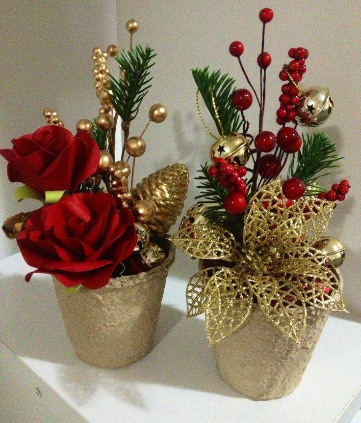 vasos com plantas natalinas