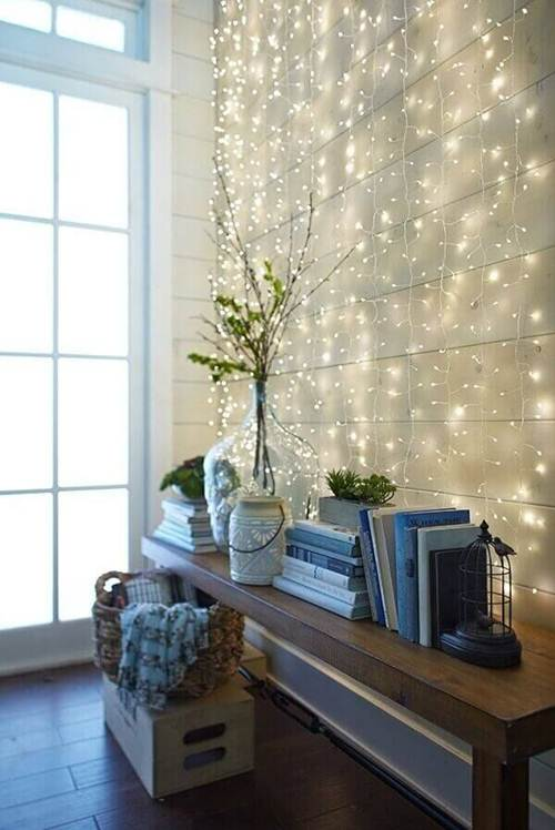 parede iluminada para natal