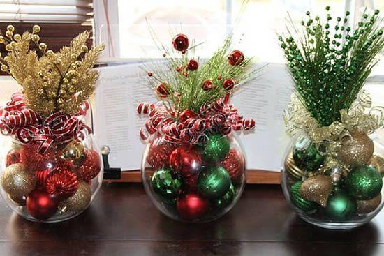 decoração de natal em vasos