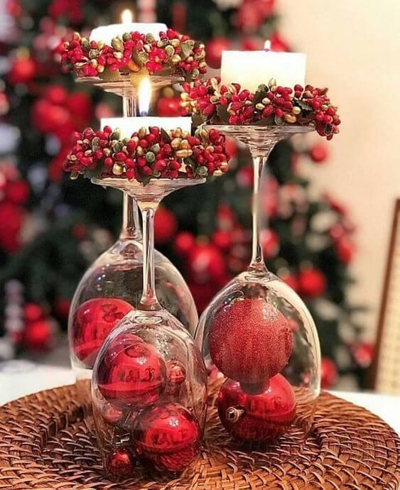 taças decorativas e velas