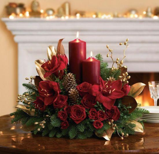 mesa com decoração de natal