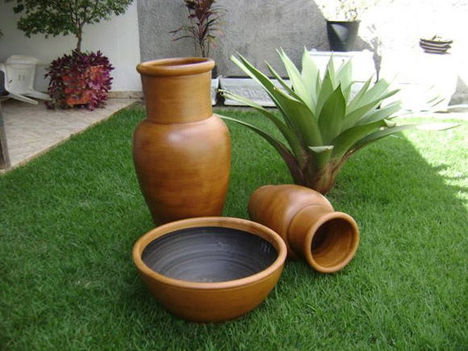 vasos decorativos e planta ornamental