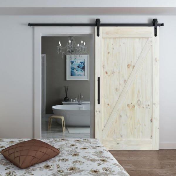 porta de correr para banheiro madeira crua