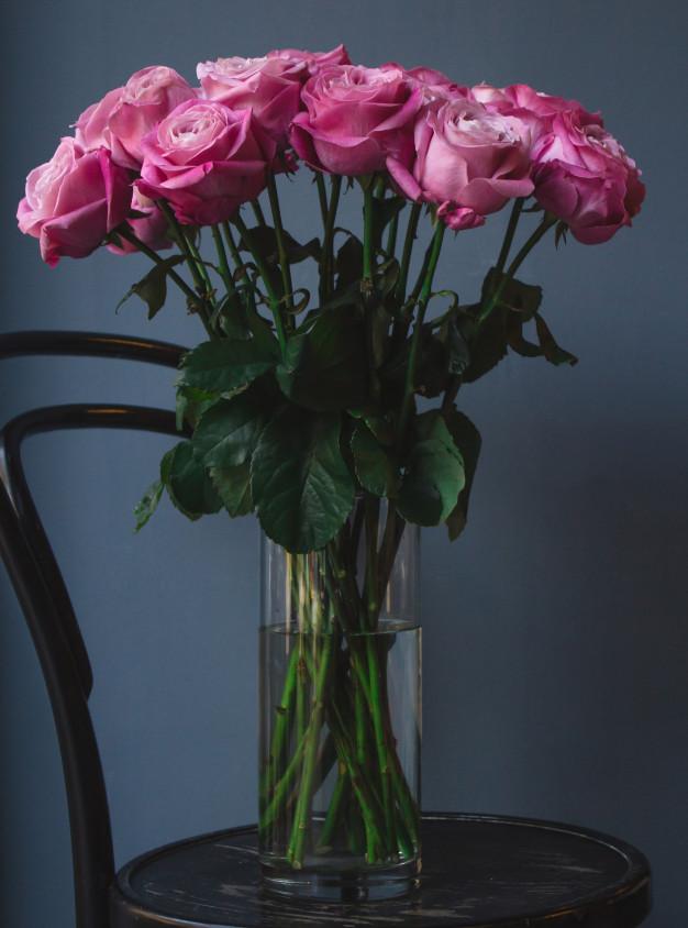 vaso simples com água e rosas