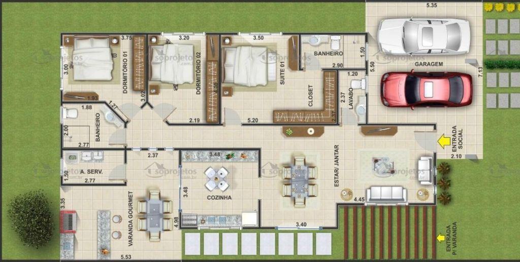 casa com closet e suites