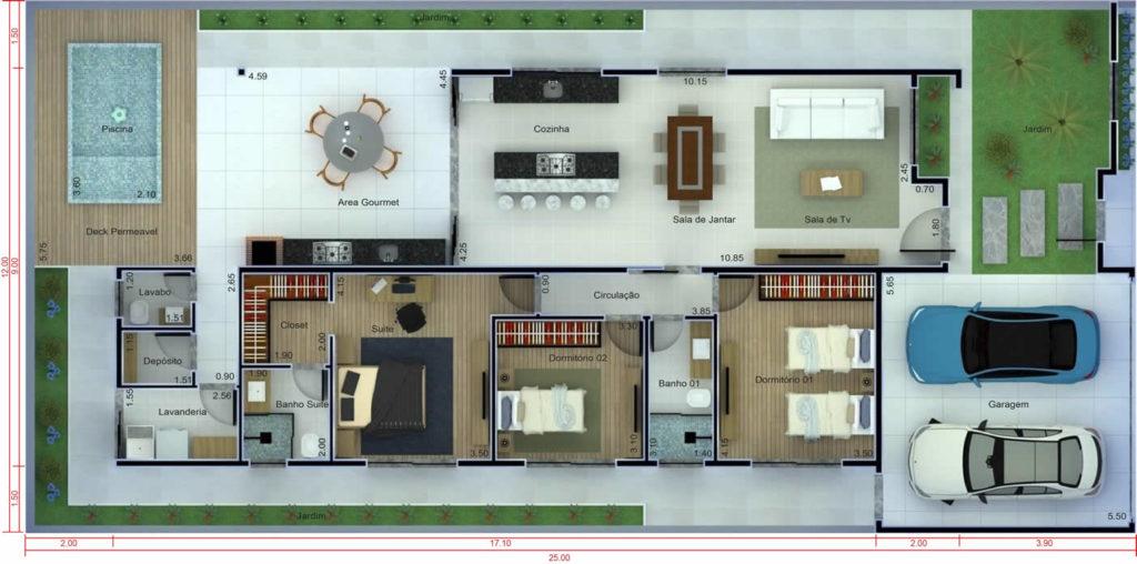 casa com suite e closet.
