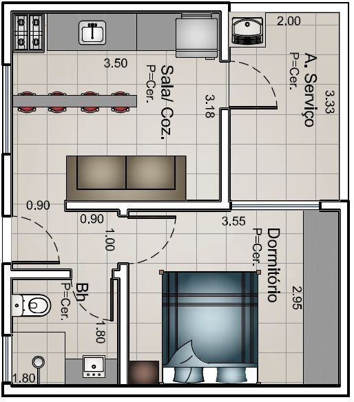 kitnet com divisoria em drywall