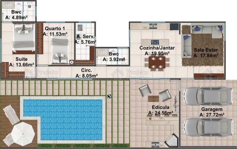 planta de fazenda com piscina